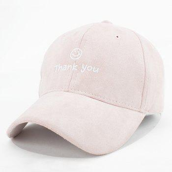 Fashion Faux Suede Smile Face Letters Embroidery Baseball Cap For Women