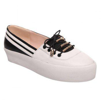 Preppy Color Splicing and Tie Up Design Women's Platform Shoes - WHITE AND BLACK 39