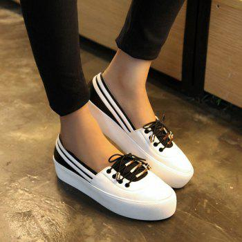 Preppy Color Splicing and Tie Up Design Women's Platform Shoes - WHITE/BLACK 39