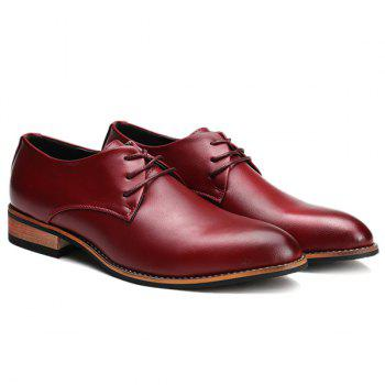 Trendy Pointed Toe and Tie Up Design Men's Formal Shoes - WINE RED 43