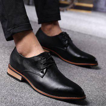 Trendy Pointed Toe and Tie Up Design Men's Formal Shoes - BLACK BLACK