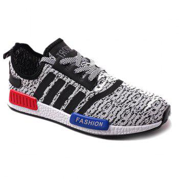 Stylish Striped and Tie Up Design Men's Athletic Shoes