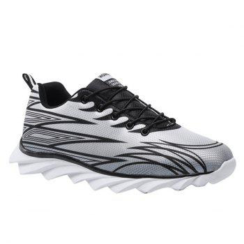 Buy Trendy Lace-Up Color Splicing Design Men's Athletic Shoes BLACK/GREY