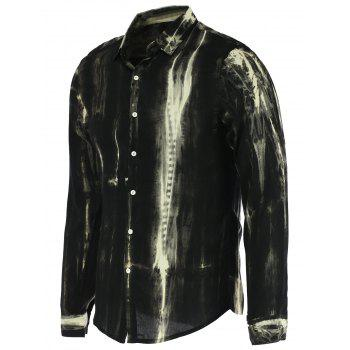 Watercolor Stripe Print Stand Collar Long Sleeves Shirt For Men