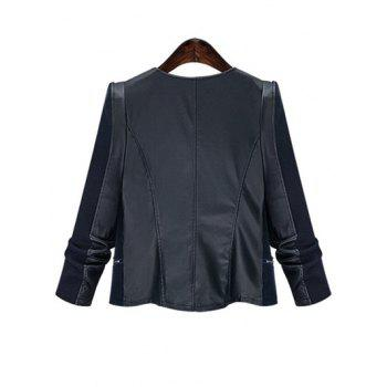 Chic Zipped Leather Patchwork Jacket For Women - BLACK 3XL