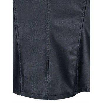 Chic Zipped Leather Patchwork Jacket For Women - 3XL 3XL