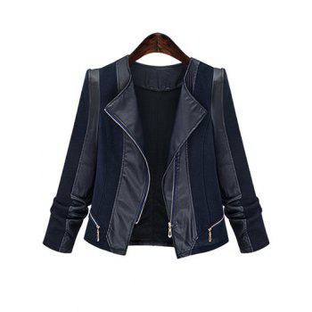 Plus Size Chic Zipped Leather Patchwork Jacket For Women - BLACK BLACK