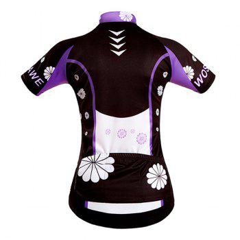Sweet Purple Flower Design Zipper Cycling Short Jersey For Women - BLACK/PURPLE S