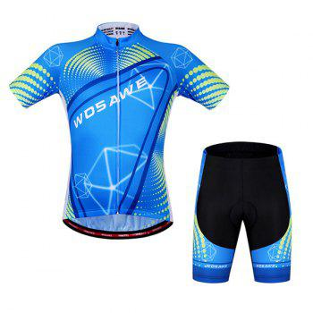 Chic Style Blue Zipper Short Sleeve and Shorts Cycling Suits For Unisex
