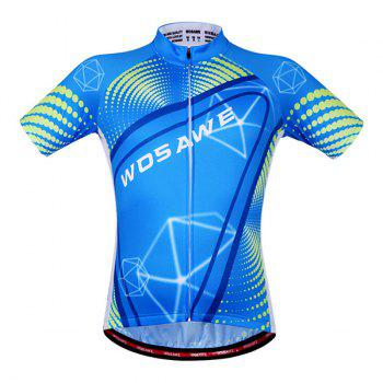 Chic Style Blue Zipper Short Sleeve and Shorts Cycling Suits For Unisex - BLUE/BLACK M