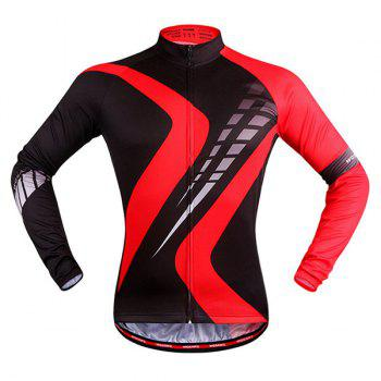 Perspiration Sport Long Sleeve Black with Red Cycling Jersey - RED WITH BLACK RED/BLACK