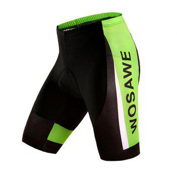 Black with Green High Quality Riding Sport Shorts with Silicone Cushion - BLACK AND GREEN M