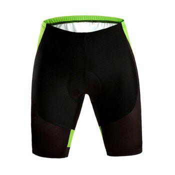 Black with Green High Quality Riding Sport Shorts with Silicone Cushion - M M