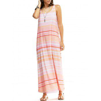 Fashionable Women's Round Neck Sleeveless Stripe Print Long Dress