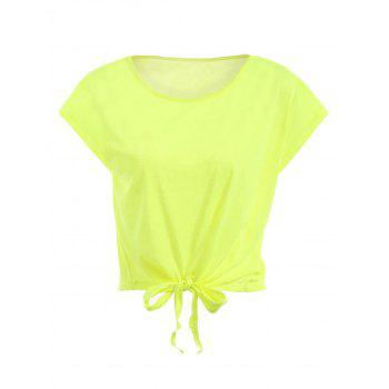 Active Scoop Neck Short Sleeve Candy Color Sport T-Shirt For Women - FLUORESCENT YELLOW FLUORESCENT YELLOW
