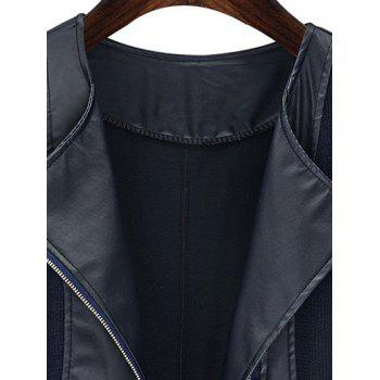 Plus Size Chic Zipped Leather Patchwork Jacket For Women - BLUE 3XL