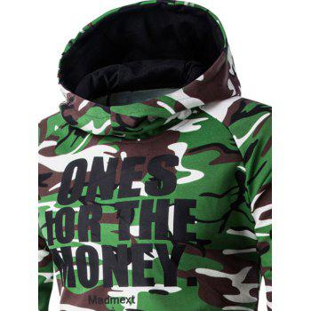 Letter Print Camo Raglan Sleeve Men's Pullover Hoodie - ARMY GREEN CAMOUFLAGE XL