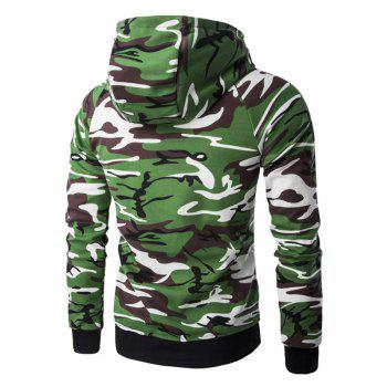 Letter Print Camo Raglan Sleeve Men's Pullover Hoodie - ARMY GREEN CAMOUFLAGE L
