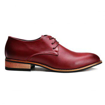 Trendy Pointed Toe and Tie Up Design Men's Formal Shoes - WINE RED WINE RED