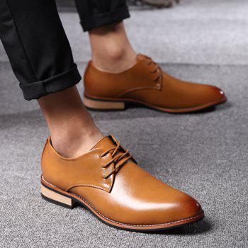 Trendy Pointed Toe and Tie Up Design Men's Formal Shoes - LIGHT BROWN LIGHT BROWN