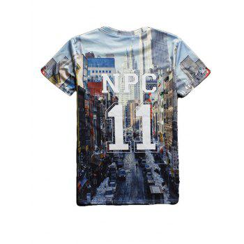 Streetscape 3D Print Round Neck Short Sleeve Men's T-Shirt - BLUE L