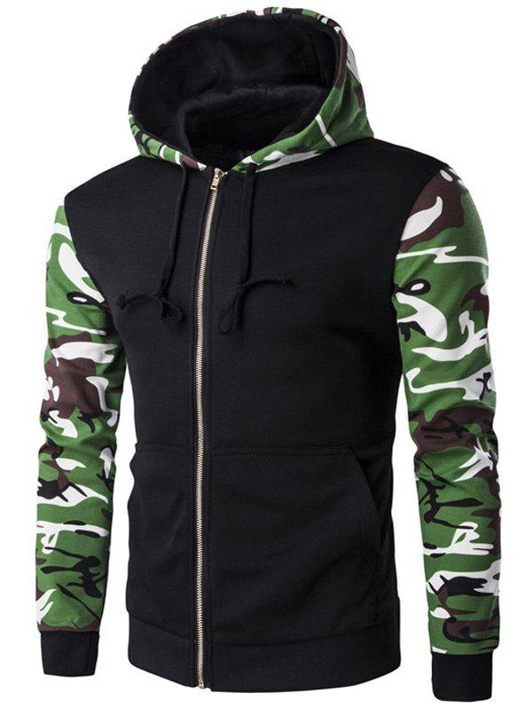 Camo Pattern Spliced Zip Up Men's Long Sleeve Hoodie - BLACK 2XL