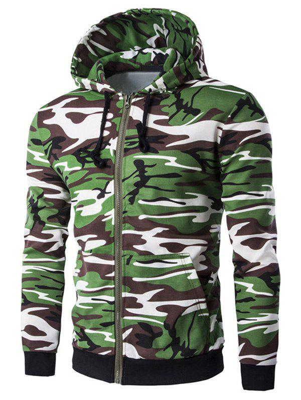 Camo Rib Spliced Zip Up Men's Long Sleeve Hoodie - ARMY GREEN CAMOUFLAGE 2XL