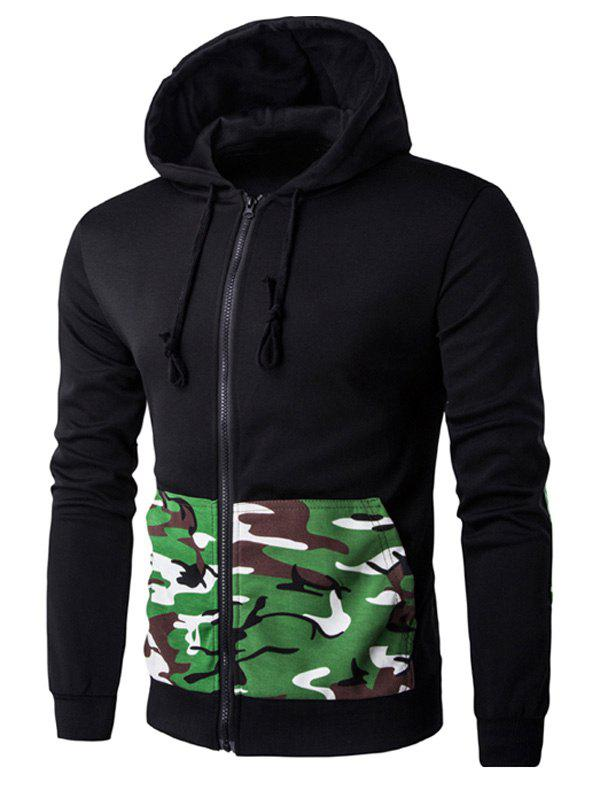 Patch Design Camo Rib Spliced Zip Up Men's Long Sleeve Hoodie