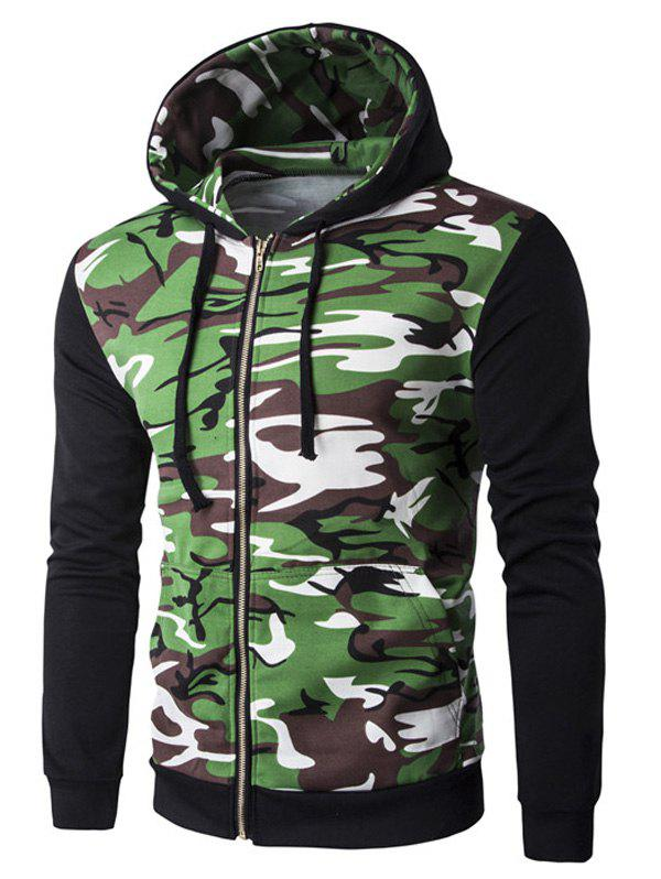 Rib Spliced Camo Long Sleeve Men's Zip Up Hoodie - BLACK 2XL
