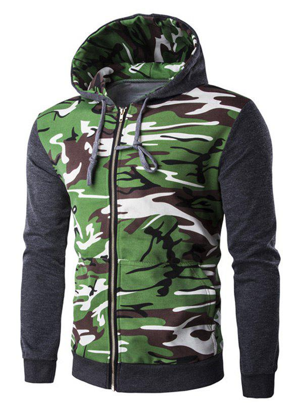 Rib Spliced Camo Long Sleeve Men's Zip Up Hoodie 190507605