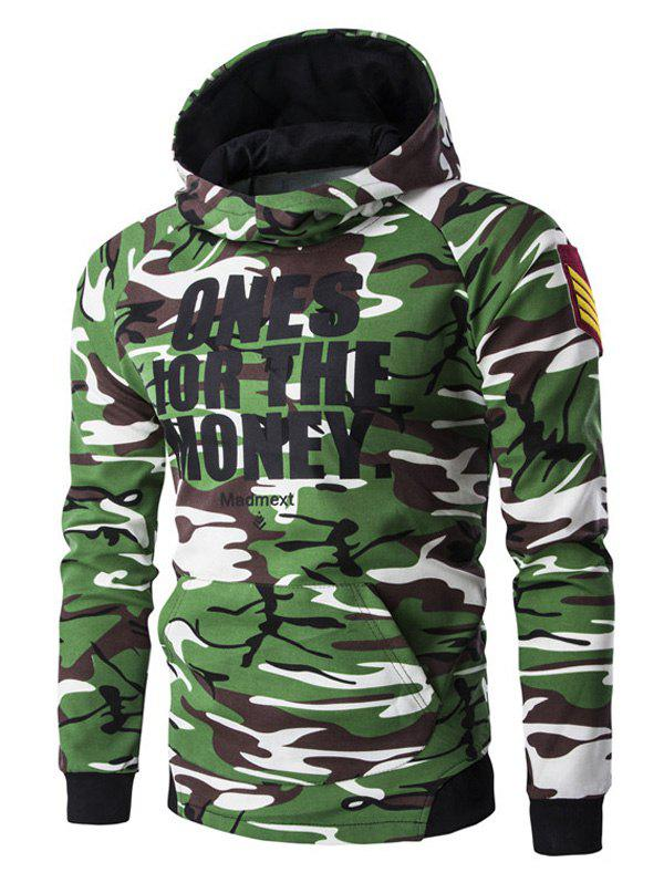 Letter Print Camo Raglan Sleeve Men's Pullover Hoodie - ARMY GREEN CAMOUFLAGE 2XL