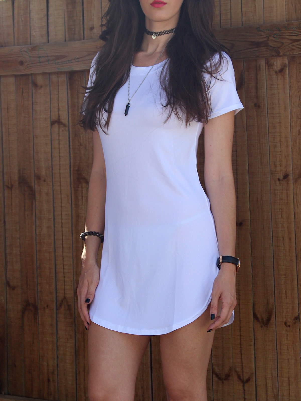 Sexy Round Neck Short Sleeves Furcal Solid Color Women's Dress - WHITE S