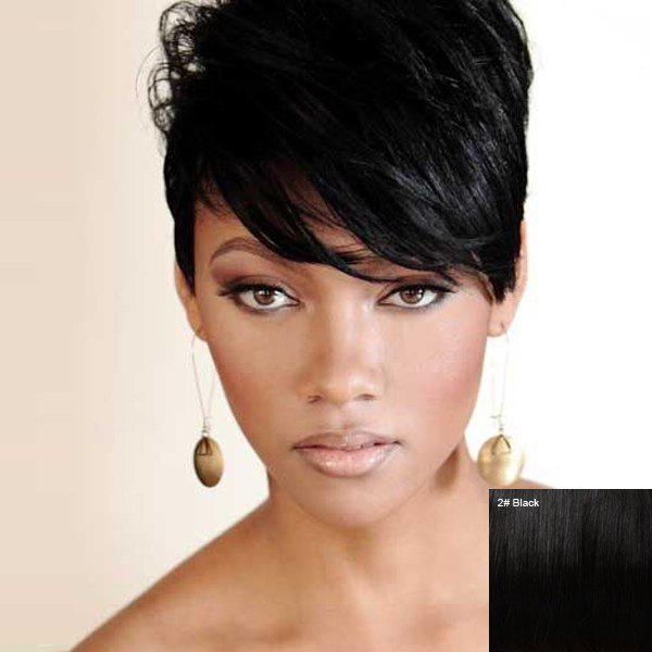 Short Straight Fluffy Side Bang Handsome Women's Human Hair Wig - BLACK