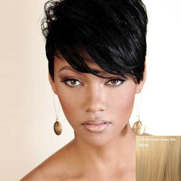 Short Straight Fluffy Side Bang Handsome Women's Human Hair Wig