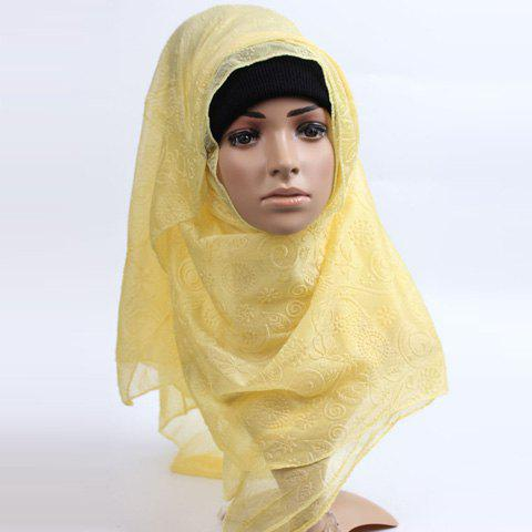 Stylish Women's Flower Pattern Muslim Shawl Wrap Hijab Scarf - YELLOW