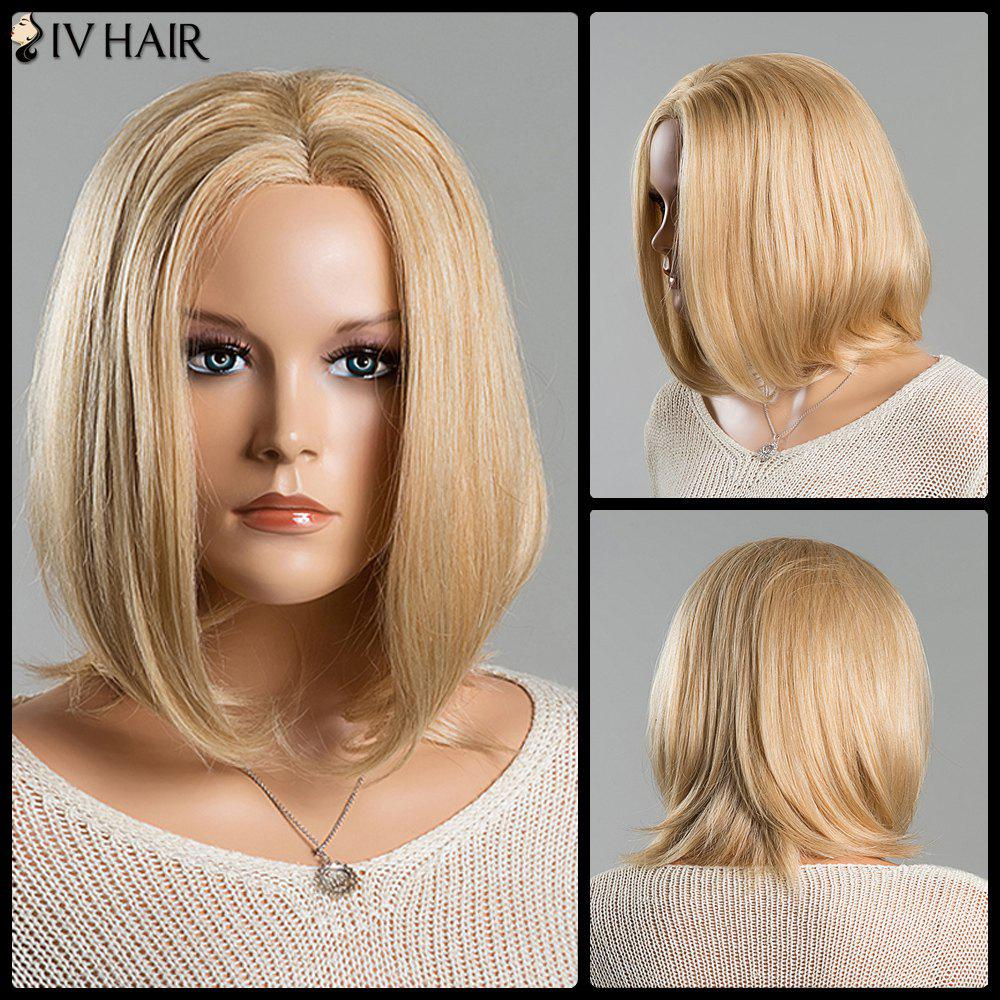 Women's Medium Straight Tail Adduction Middle Part Stunning Siv Lace Front Human Hair Wig - BLONDE