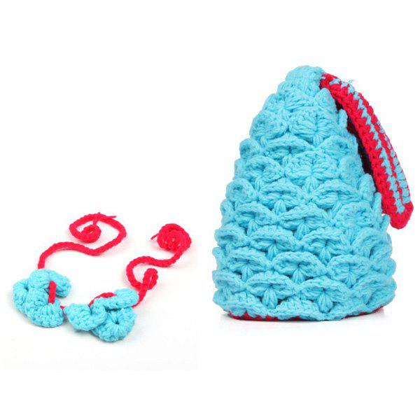 Cute Full Love Newborn Baby Photography Prop Knitted Crochet Mermaid Tail Costume - LIGHT BLUE