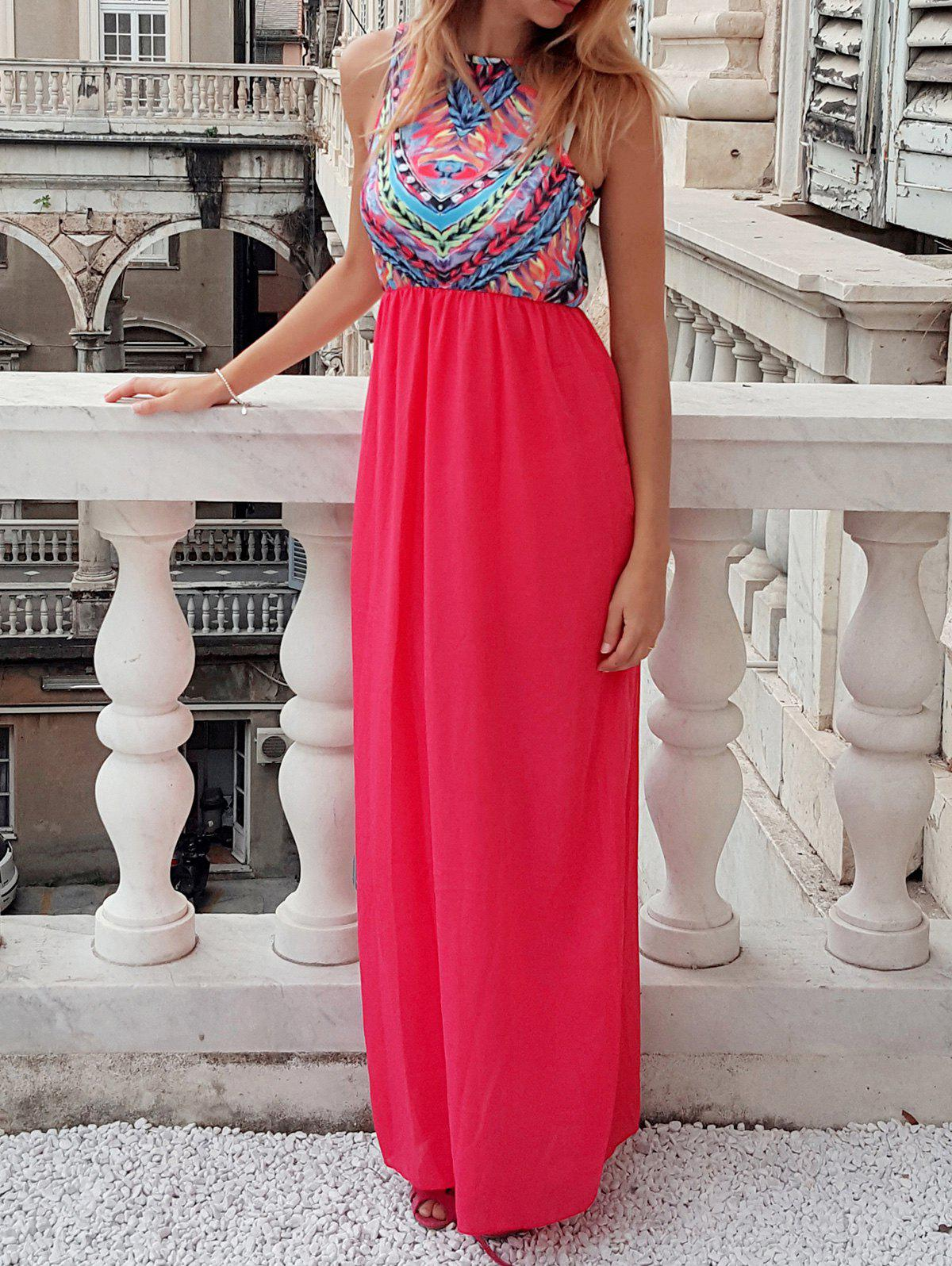 Ethnic Style Scoop Collar Geometric Print Maxi Dress For Women - WATERMELON RED S