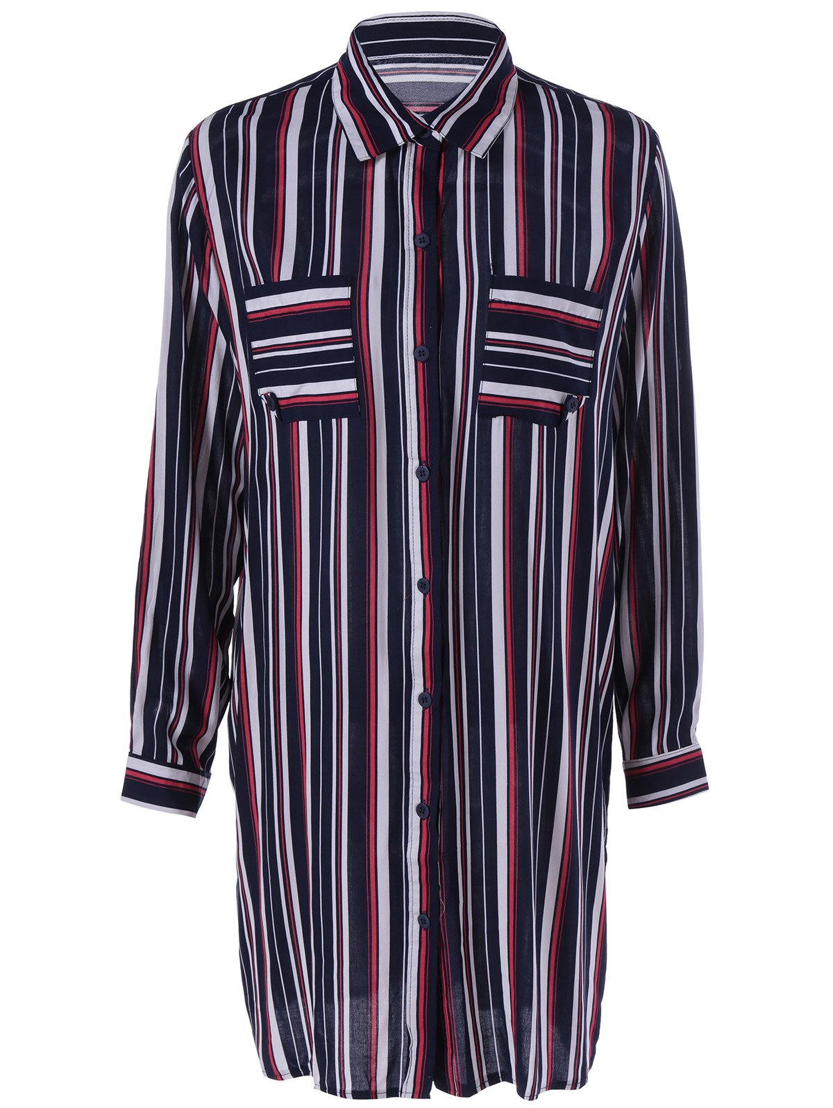 Loose-Fitting Long Sleeves Shirt Collar Slit Striped Shirt Dress For Women