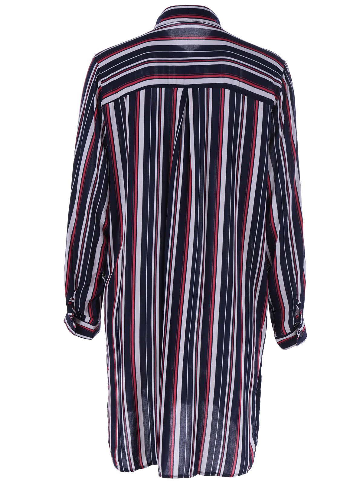 Loose-Fitting Long Sleeves Shirt Collar Slit Striped Shirt Dress For Women - BLACK ONE SIZE(FIT SIZE XS TO M)