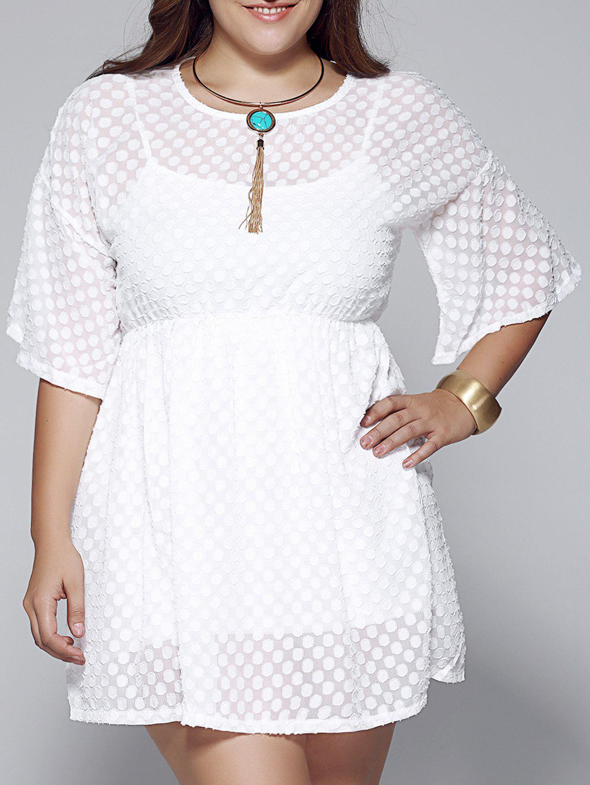 Plus Size High Waist Bell Sleeve Twinset Dress