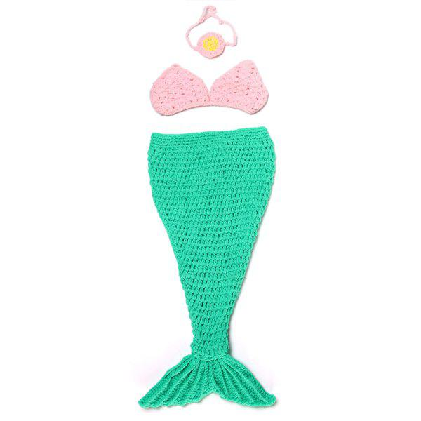 Cute Full Love Newborn Baby Girl Photography Prop Knitted Crochet Mermaid Tail Costume - GREEN