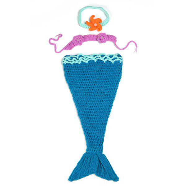 Cute Full Love Newborn Baby Girl Photography Prop Blue Knitted Crochet Mermaid Tail Costume - BLUE