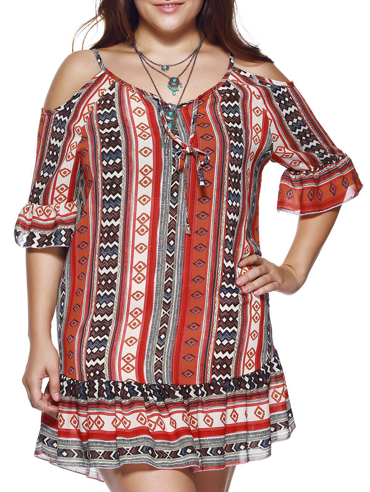 Plus Size Cut Out Ethnic Print Dress - XL COLORMIX