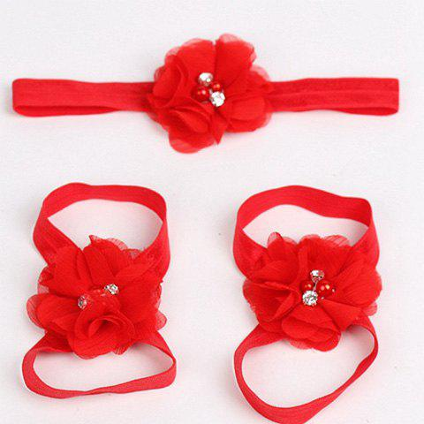 Sweet Newborn Baby Photography Prop Chiffon Flower Headwear and Footwears - RED