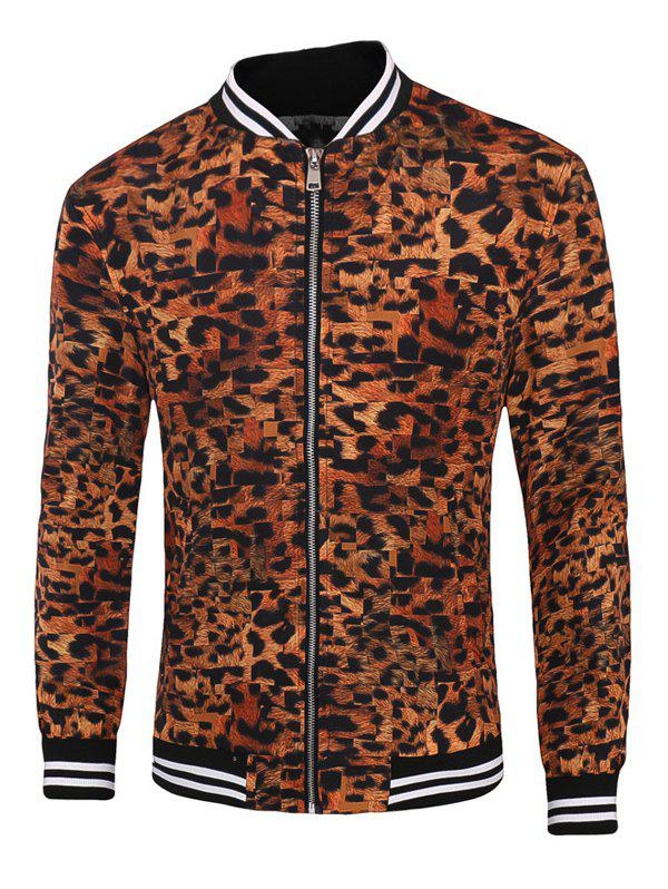 Leopard Varsity Stripe Trim Zippered Men's Jacket - LEOPARD 3XL