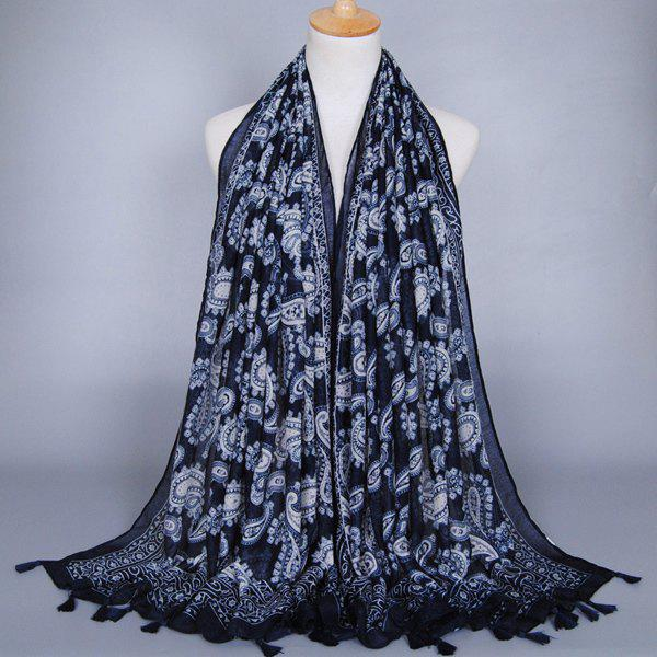 Chic Indain Style Paisley Pattern Tassel Pendant Women's Cadet Blue Voile Scarf