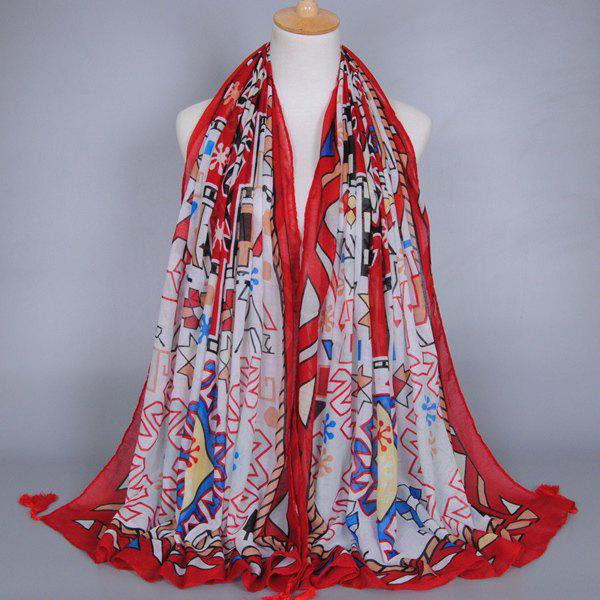 Chic Indian Style Geometry Pattern Tassel Pendant Women's Voile Scarf - RED