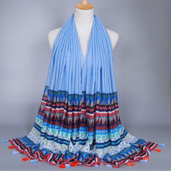 Chic Mediterranean Style Geometry Pattern Tassel Pendant Women's Voile Scarf - LIGHT BLUE