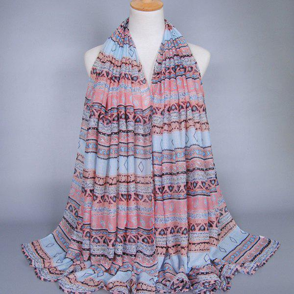 Chic Bohemian Style Geometry Pattern Women's Voile Scarf - LIGHT PINK